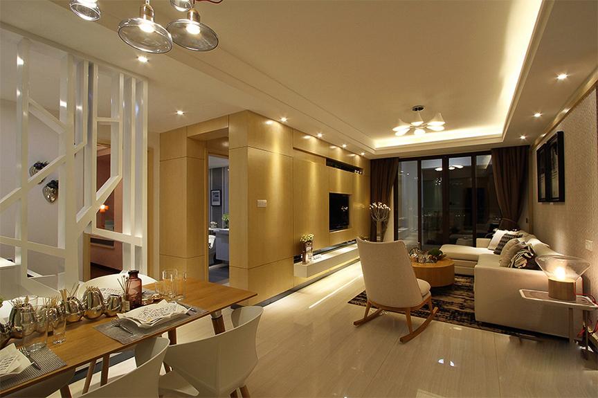 亿利国际生态岛130平米三室两厅现代风格装修效果图
