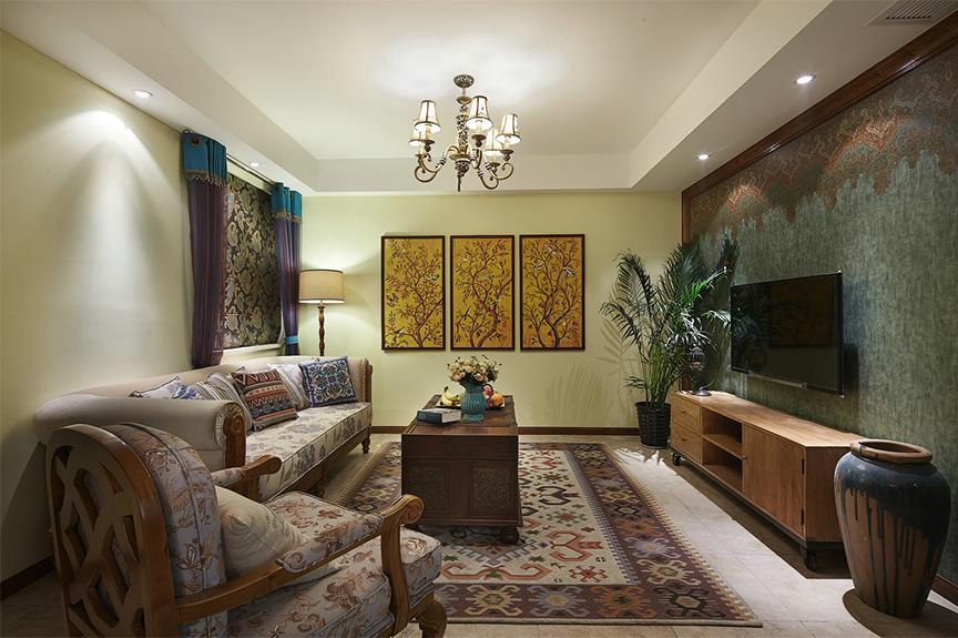 亿利国际生态岛115平米三室两厅混搭风格装修效果图