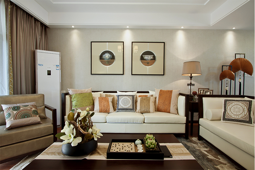 保利香颂湖87平米两室两厅中式风格装修效果图