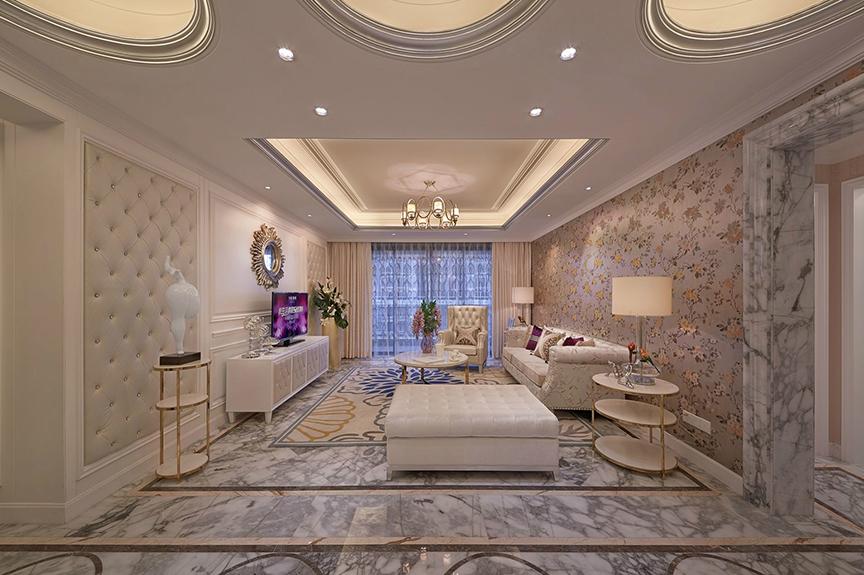 保利香颂湖98平米三室两厅欧式风格装修效果图