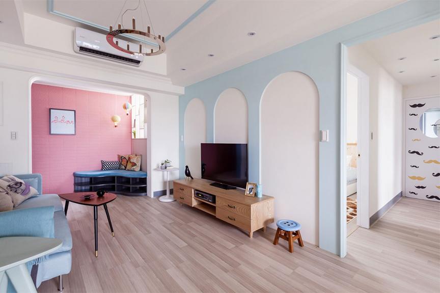 贵山里74平米两室两厅现代风格装修效果图