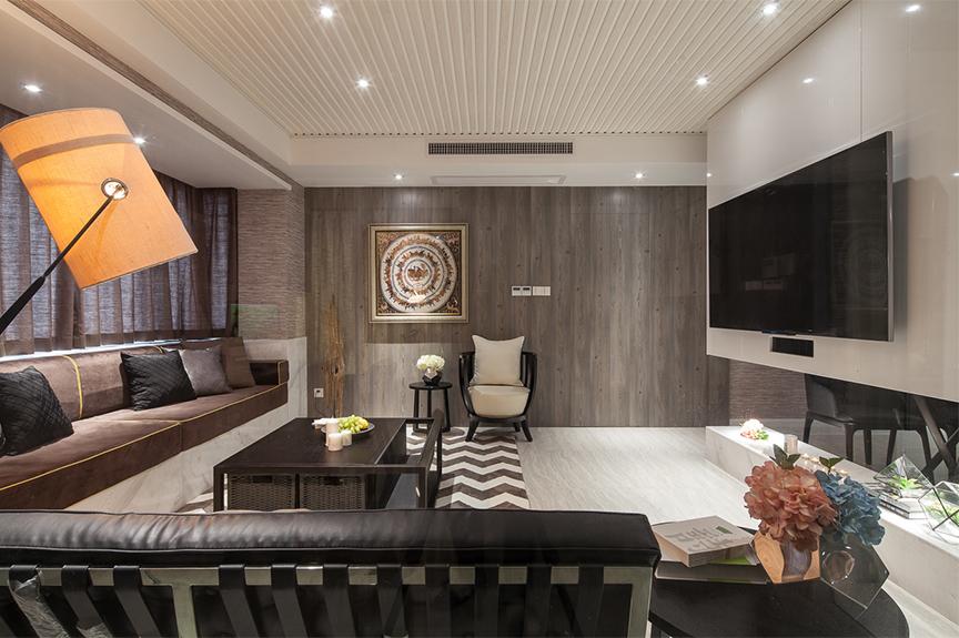 红磡领世郡领世深白89平米两室两厅混搭风格装修效果图