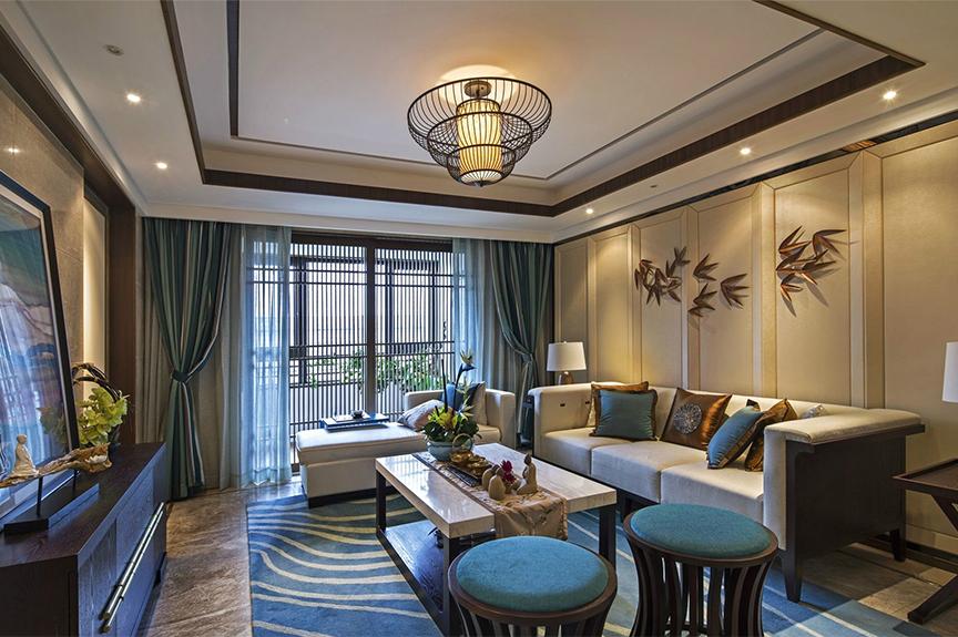 红磡领世郡领世深白90平米一室两厅中式风格装修效果图
