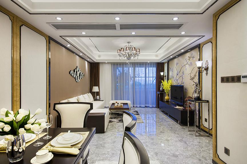 红磡领世郡人才公寓91平米两室两厅中式风格装修效果图