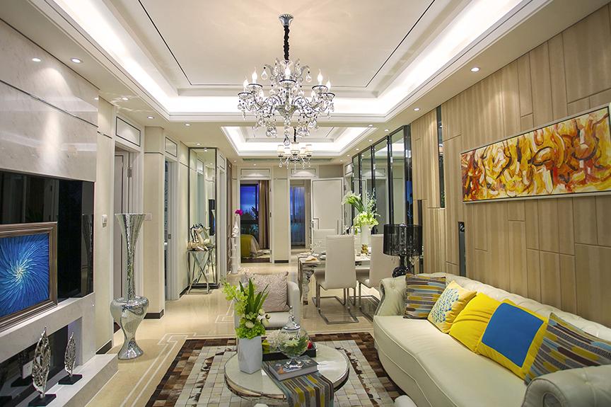 红磡领世郡人才公寓103平米两室两厅法式风格装修效果图