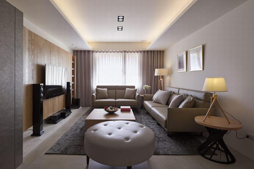 红磡领世郡人才公寓105平米两室两厅现代风格装修效果图