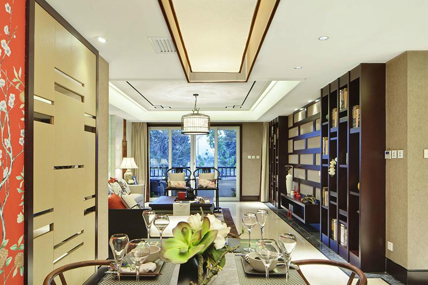 天津滨海万达广场90平米两室两厅中式风格装修效果图