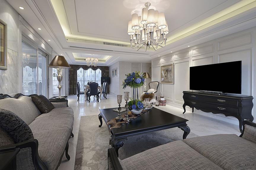 天津滨海万达广场125平米三室两厅欧式风格装修效果图