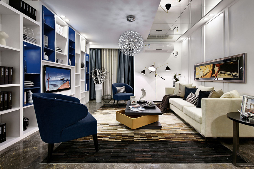 天津滨海万达广场90平米三室两厅北欧风格装修效果图