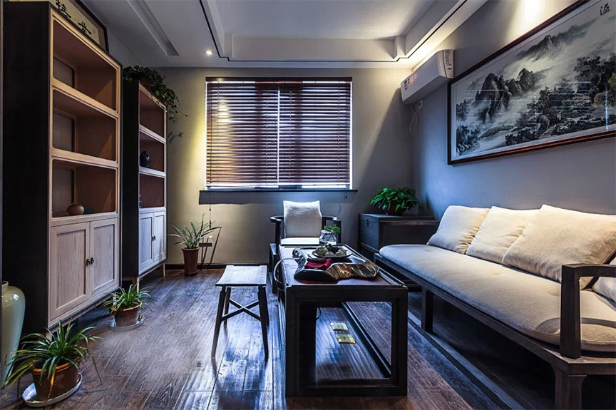 天津滨海万达广场110平米三室两厅东南亚风格装修效果图