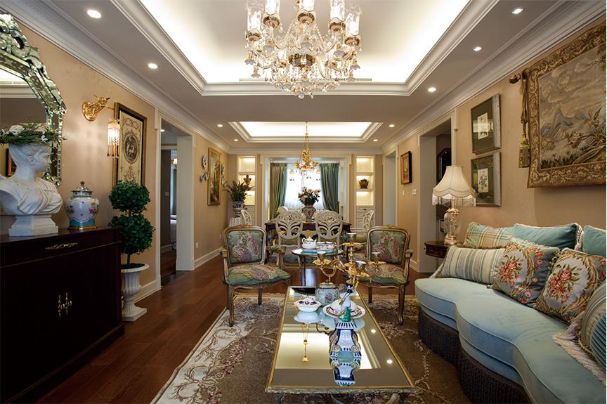 天津滨海万达广场125平米三室两厅法式风格装修效果图