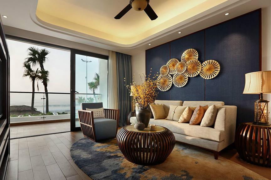 天津滨海万达广场140平米三室两厅中式风格装修效果图