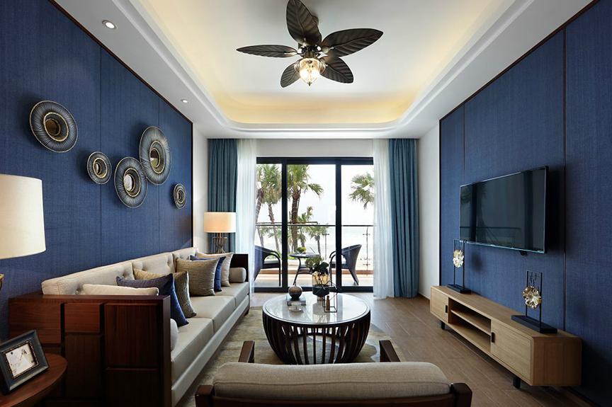 旭日豪庭89平米两室两厅中式风格装修效果图