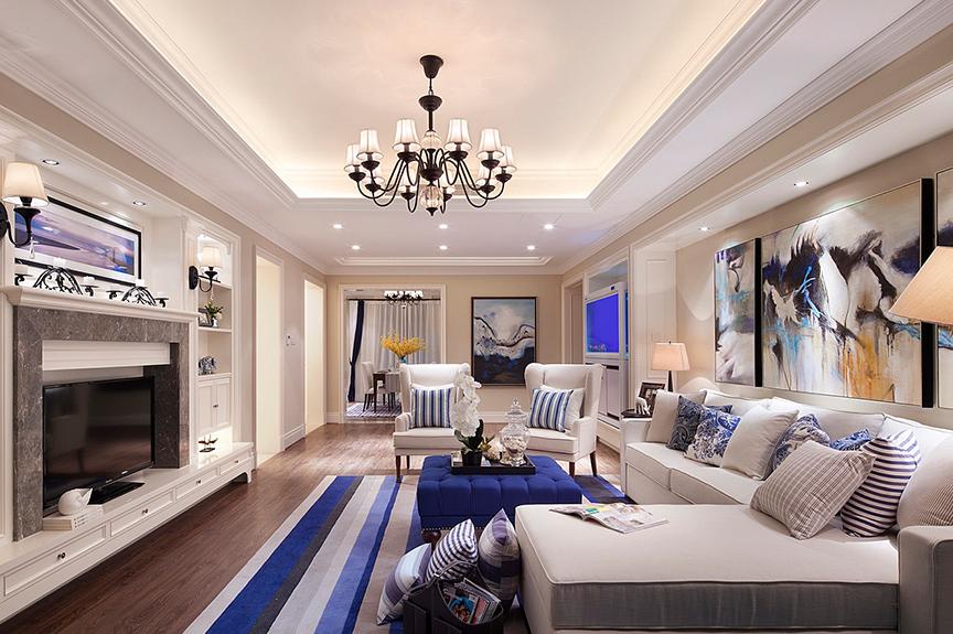旭日豪庭99平米三室两厅美式风格装修效果图