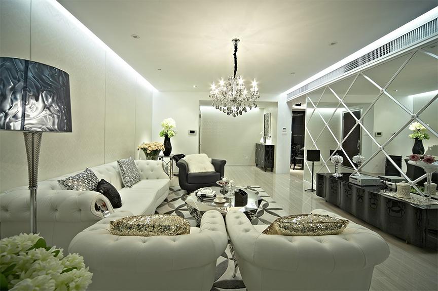 旭日豪庭119平米三室两厅欧式风格装修效果图