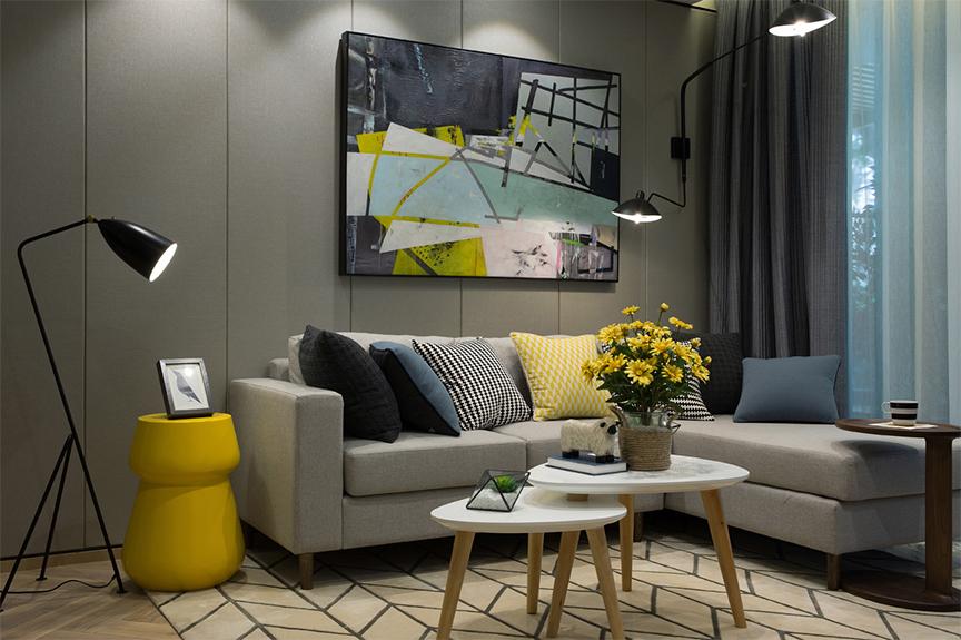 意境兰庭84平米两室两厅现代风格装修效果图