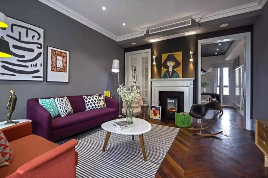 意境兰庭93平米三室两厅混搭风格装修效果图