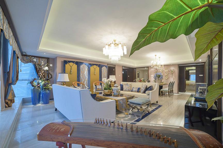 招商果岭83平米两室两厅中式风格装修效果图