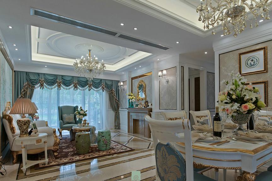 招商果岭118平米三室两厅法式风格装修效果图