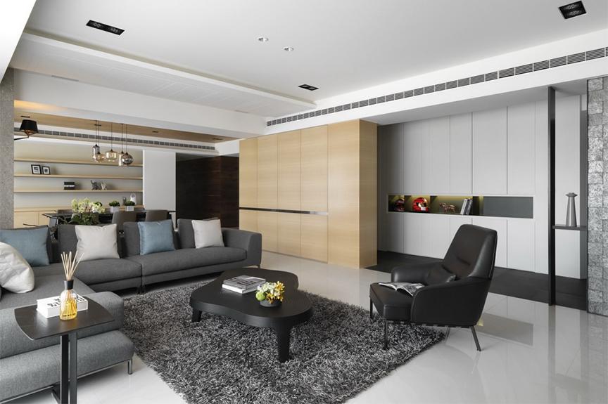 招商果岭142平米两室两厅现代风格装修效果图