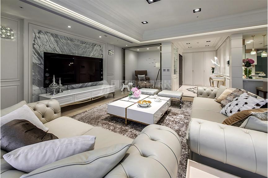 融创中心123平米三室两厅欧式风格装修效果图