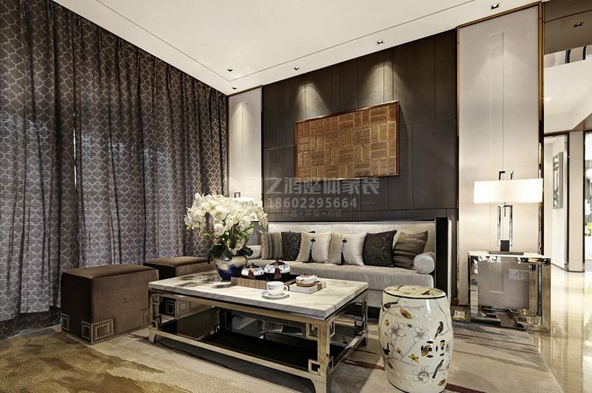 融创中心107平米三室两厅东南亚风格装修效果图