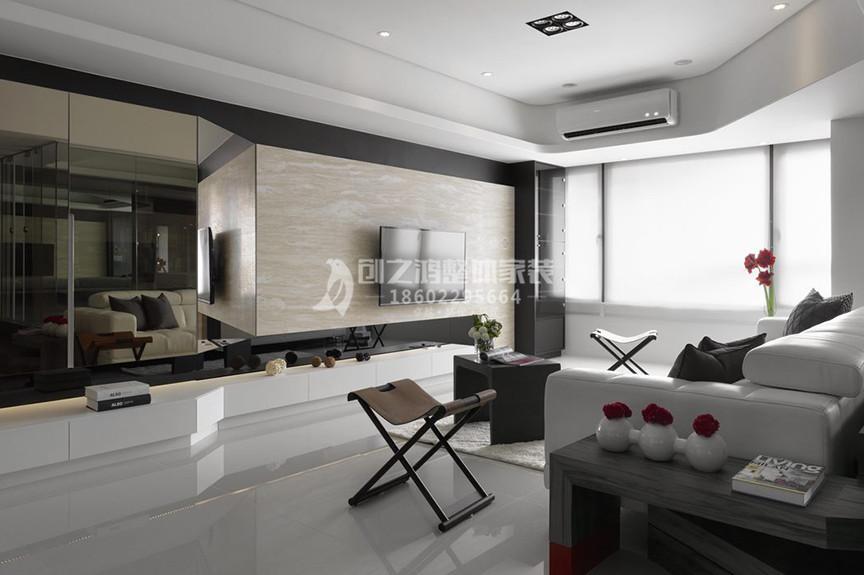 融创中心105平米三室两厅现代风格装修效果图