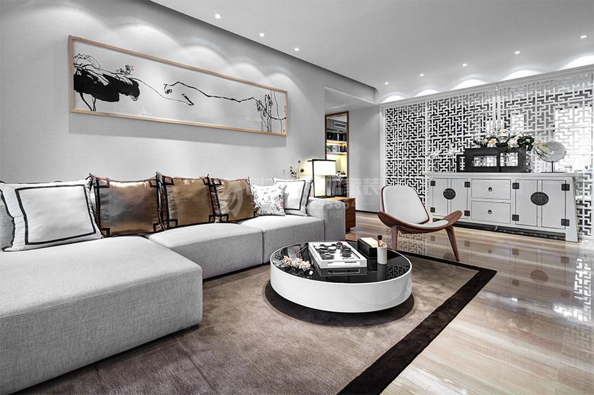 融创中心95平米三室两厅中式风格装修效果图