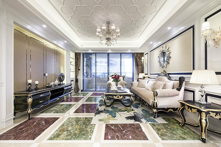 融创中心83平米两室两厅欧式风格装修效果图