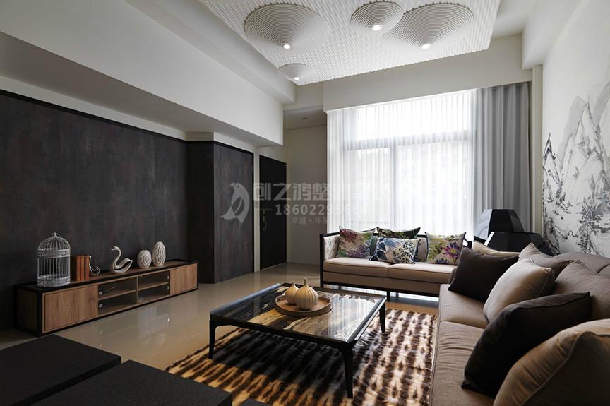 仁恒滨河湾93平米两室两厅中式风格装修效果图