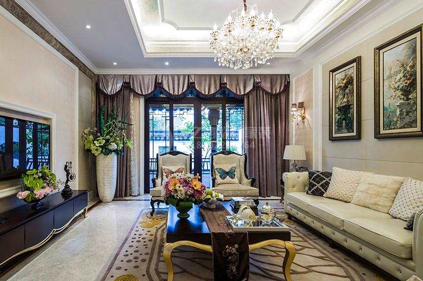 仁恒滨河湾92平米两室两厅欧式风格装修效果图