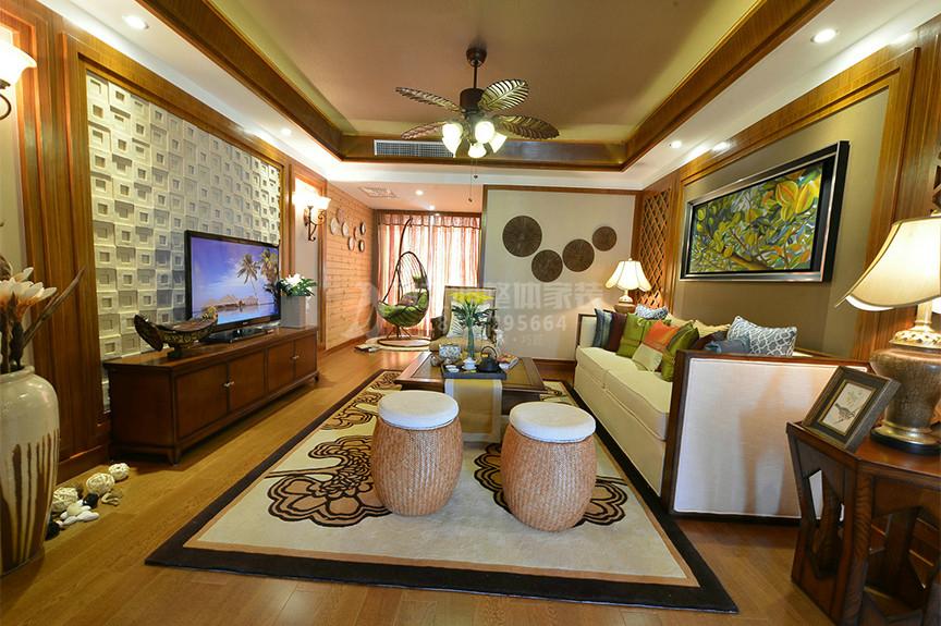 摩卡假日96平米两室两厅东南亚风格装修效果图
