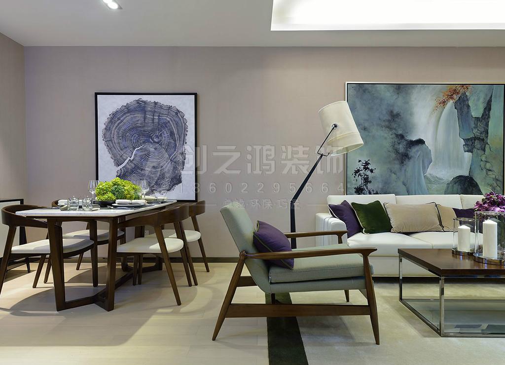 路劲太阳城三室两厅99㎡现代简约装修效果图
