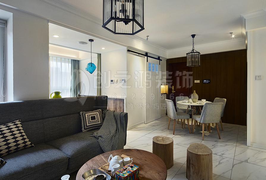 招商雍景湾95㎡三室两厅北欧风格装修效果图