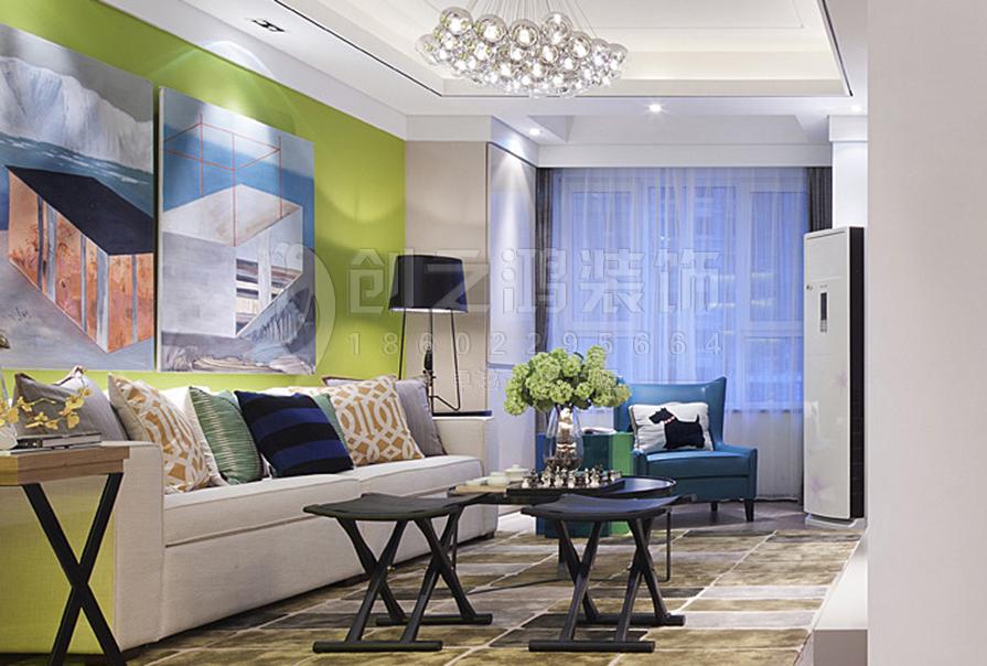 招商雍景湾92㎡二室二厅现代风格装修效果图