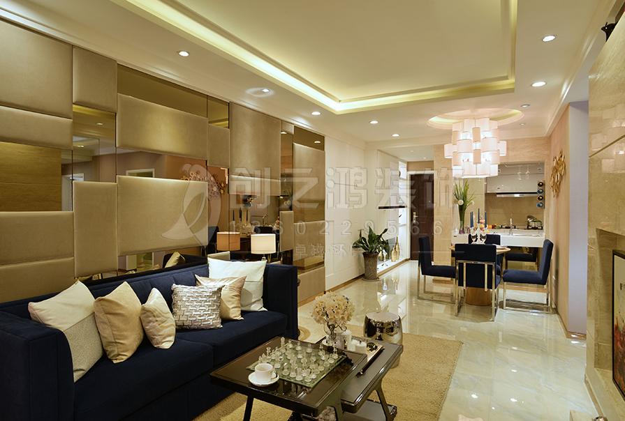 路劲太阳城92㎡二室二厅现代风格装修效果图