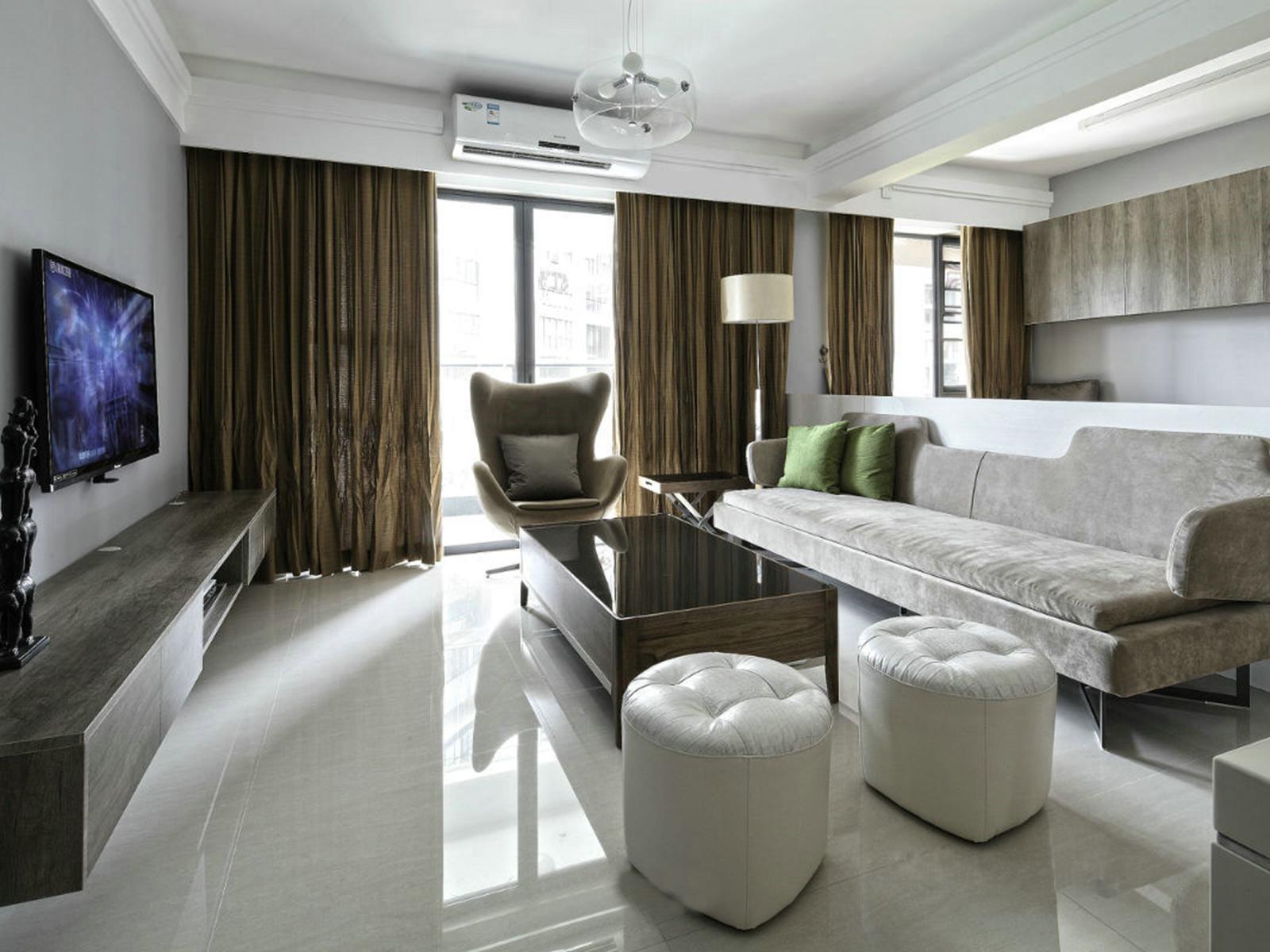 天津恒大帝景128㎡三室两厅北欧风格装修效果图