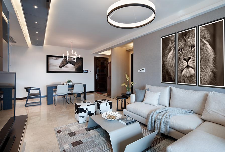 天津全运村113㎡三室二厅现代风格装修效果图