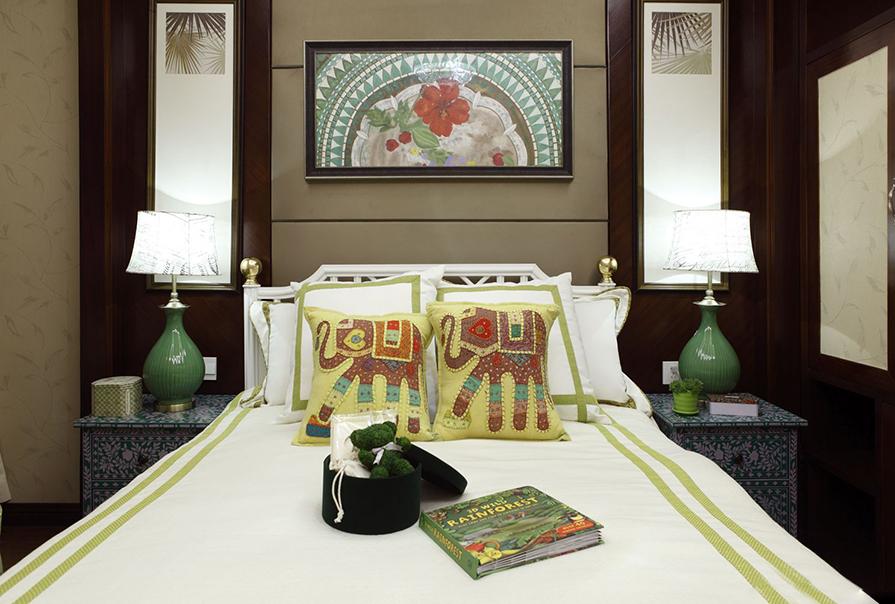 天津恒大景帝131㎡三室二厅中式风格装修效果图