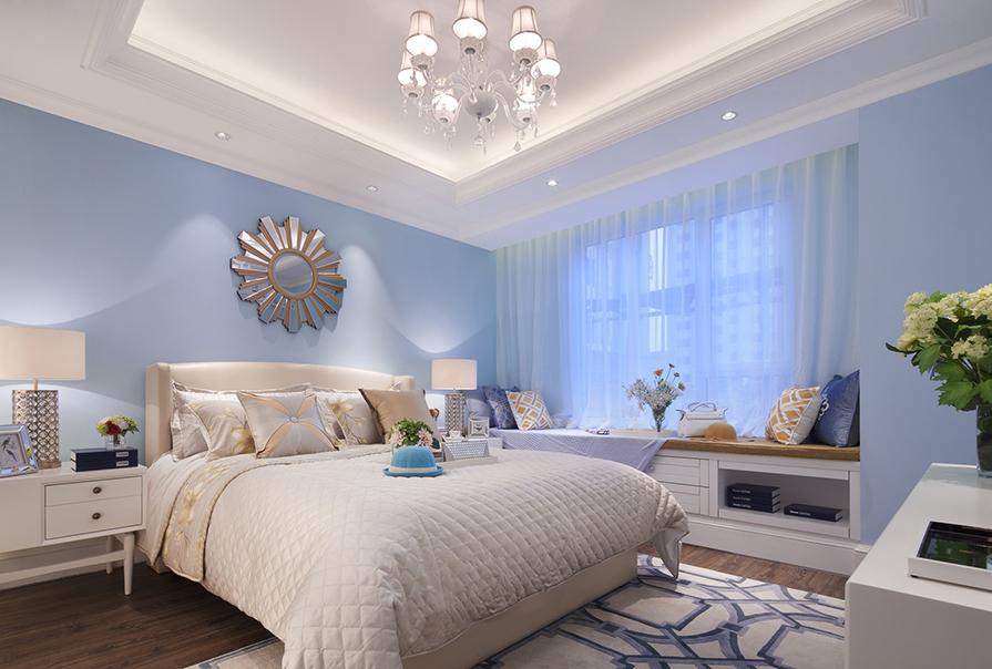 天津恒大景帝135㎡三室二厅美式风格装修效果图