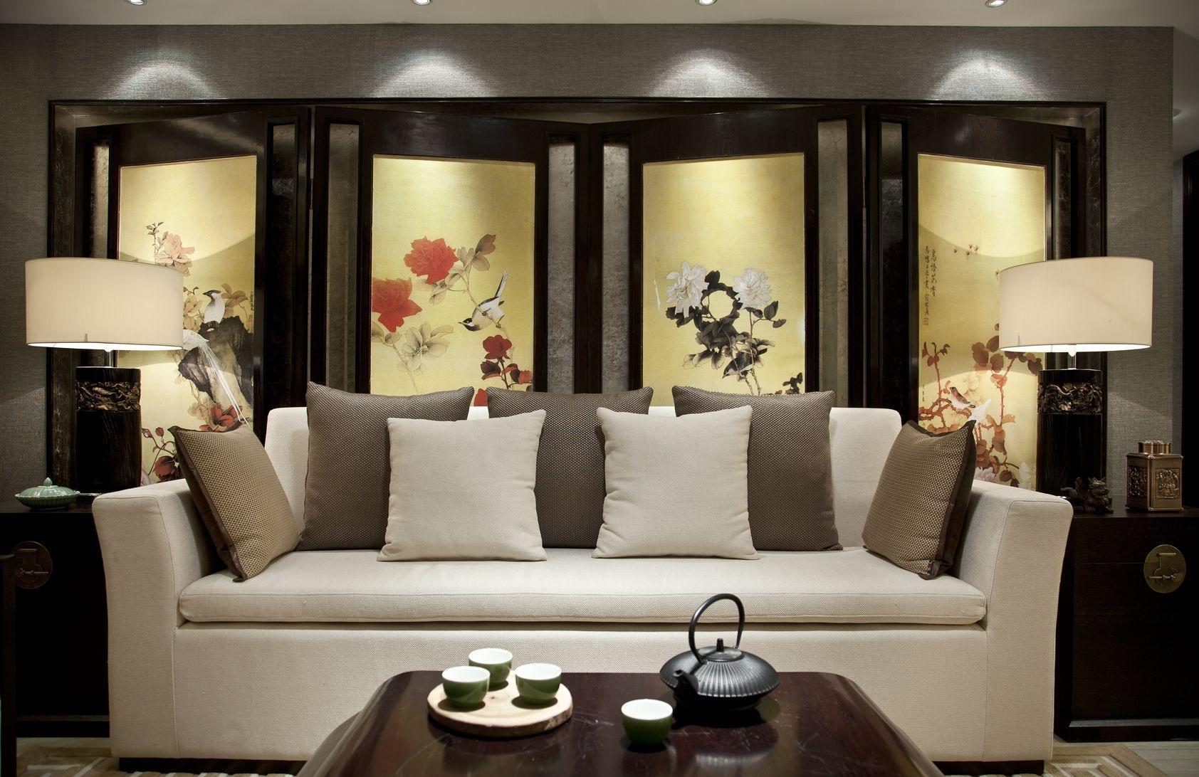 富豪新开门128㎡三室二厅中式风格装修效果图