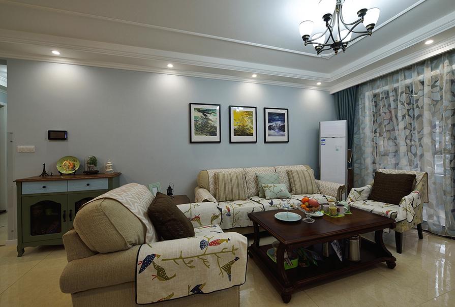 财富绿道丹庭93㎡三室二厅美式风格装修效果图