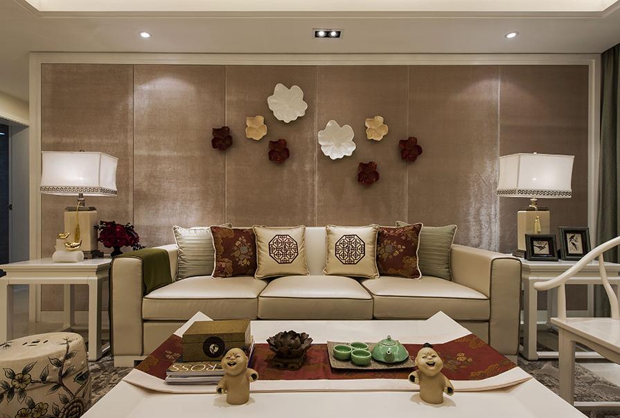 天津恒大帝景152㎡三室两厅中式风格装修效果图