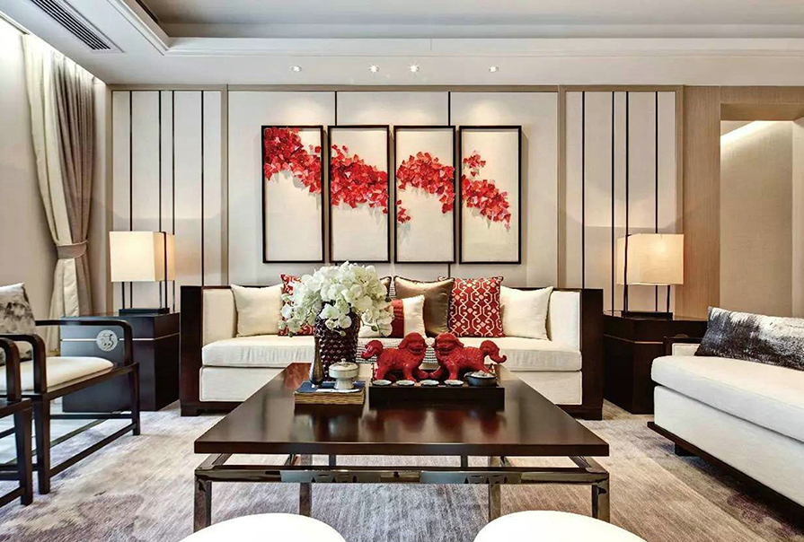 天津全运村113㎡三室二厅中式风格装修效果图