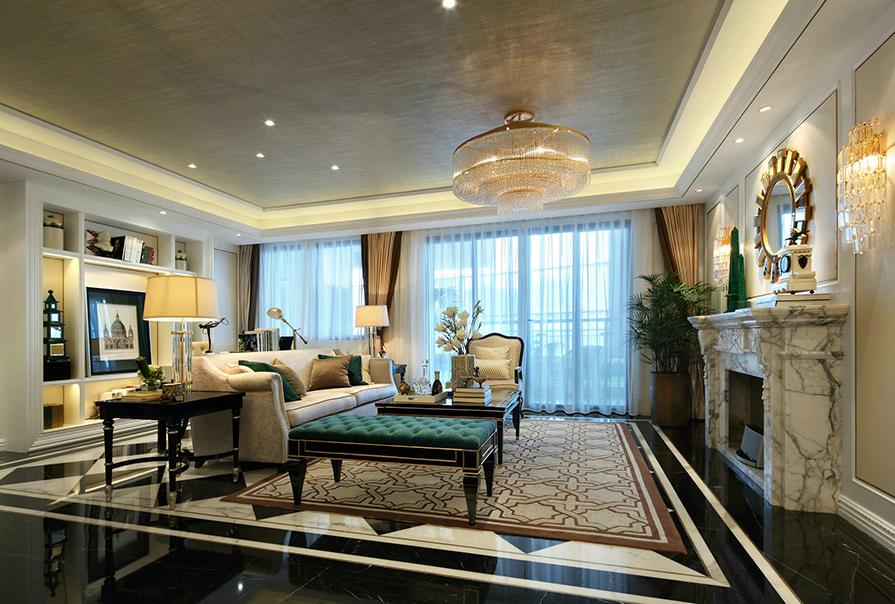 天津恒大帝景142㎡三室二厅欧式风格装修效果图