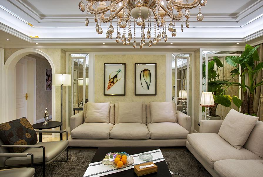 天房海河湾130㎡三室二厅欧式风格装修效果图