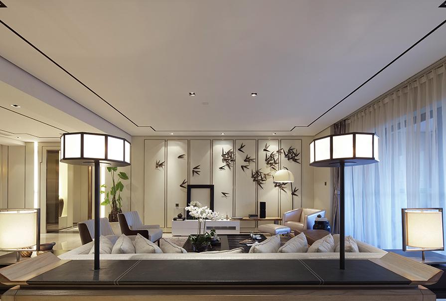 境界梅江163㎡三室二厅中式风格装修效果图