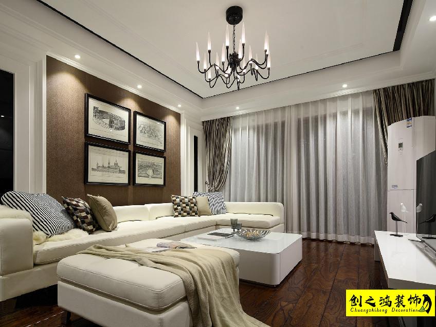 109㎡天房六合国际三室两厅美式风格装修效果图