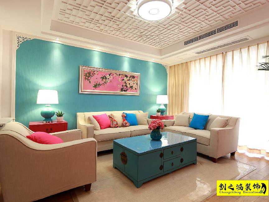 92㎡中国铁建国际城二室二厅中式风格装修效果图