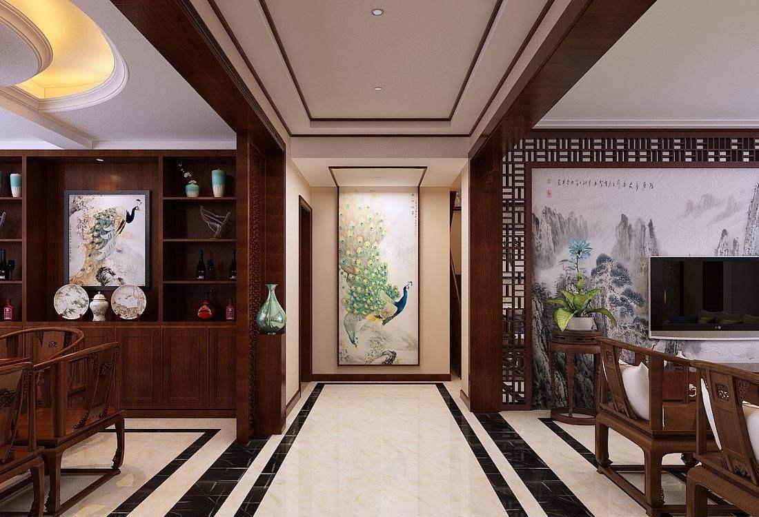 天津中式装修,中式玄关装修